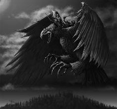 The Lapp Eagle (Lapin kokko) by TeroPorthan on DeviantArt Nice Comments, Pumpkin Stencil, Hampi, Best Horrors, Fun At Work, Horror Art, Traditional Art, Dark Art, Mythology