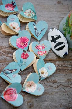 SALE Paper garland Victorian Roses AQUA HEARTS for wedding party birthday home decoration #Pink #Wedding #PinkWedding #Paper
