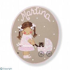 Placa de puerta personalizada: Niña con un cochecito de bebé (ref. 12157-06)