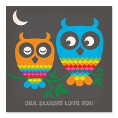 "East Urban Home Rainbow Owls  Textual Art Size: 16"" H x 16"" W"