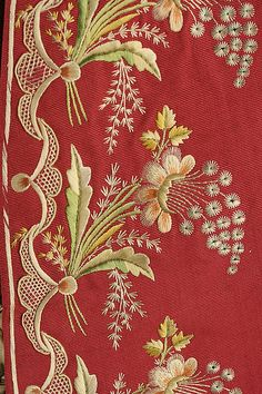 From the MET - Silk embroidery on silk, a suit. I would Love such a suit!!