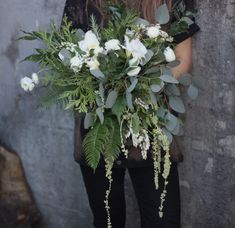 Natural Forest Bouquet. Bride Bouquet. Wedding Flowers. Draping Bouquet. Eucalyptus, Succulents, Cedar, Ranunculus, Ferns.