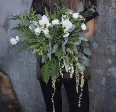 Natural Forest Bouquet. Bride Bouquet. Wedding Flowers. Draping Bouquet. Eucalyptus, Succulents, Cedar, Ranunculus, Ferns.