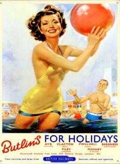 Mervyn Stuart Butlins vintage poster from Christies Vintage Advertisements, Vintage Ads, Vintage Classics, Vintage Metal, Butlins Holidays, British Holidays, Uk Holidays, Costa, National Railway Museum