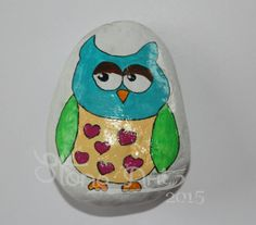 hand painted owl pebble!