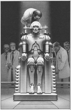 "humanoidhistory: ""Ralph McQuarrie illustration for Robot Visions by Isaac Asimov, "" Isaac Asimov, Ralph Mcquarrie, Robots Vintage, Retro Robot, Star Wars Poster, Star Wars Art, Star Trek, Science Fiction Kunst, Nave Star Wars"