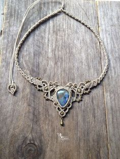 Micro macrame necklace Labradorite elven tiara boho chic jewelry by Creations Mariposa L1