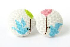 Bird Baloon Stud Earrings by KooKooCraft.deviantart.com on @deviantART