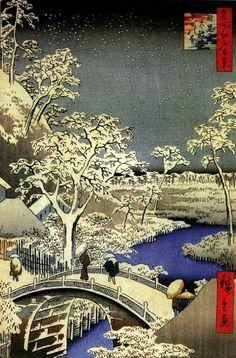 Hiroshige. 目黒太鼓橋夕日の岡 111