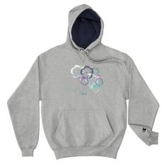 ee9e18b3b469d Hawaiian Hibiscus Floral Design Champion Hoodie - Black   S