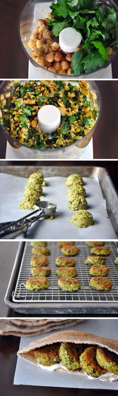 Homemade Falafel with Tahini Sauce: 2 cups cooked chickpeas, drained 1 cup lightly packed parsley leaves 1 cup lightly packed cilantro leaves 1 teaspoon salt ¼ teaspoon chili powder 2 teaspoons cumin 2 teaspoons baking powder ½ cup all-purpose flour Healthy Snacks, Healthy Eating, Whole Food Recipes, Cooking Recipes, Sauce Recipes, Pasta Recipes, Dessert Recipes, Vegetarian Recipes, Healthy Recipes