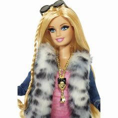 2013 Barbie Style Looks Wave - Barbie Version 2 - White and Black Leopard Faux Fur Vest and Denim Shorts - 12 point articulated - Mattel Doll - real rooted eyelashes Barbie Fashionista, Barbie Style, Ken Doll, Hollister Style, Hollister Fashion, Barbie 2000, Barbie Makeup, Cute Outfits With Jeans, Foto Real