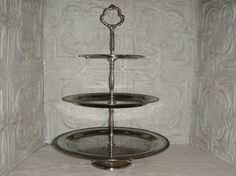 Large Victorian Silver Plate Three Tiered Cake by TinkersWarehouse