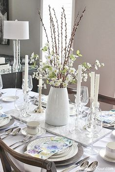 Spring Pussywillow Centerpiece idea: Are you craving a cheery Springtime feeling for your home right now? See these 10 minute decor ideas to transition your home for Springtime!