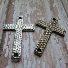 CHOICE of Hammered Cross, Pewter or Brass Oxide Finish Hammertone Cross, Cross, Pewter Cross, Cross, Pewter Cross, Rosary Components