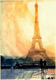 The Eiffel Tower, Paris Polish artist Maja Wrońska 's watercolor paintings of famous landmarks are truly something to behold. Tour Eiffel, Illustration Parisienne, Illustration Art, Paris Kunst, Maurice Utrillo, Eiffel Tower Art, Paris Tower, Eiffel Towers, Art Watercolor