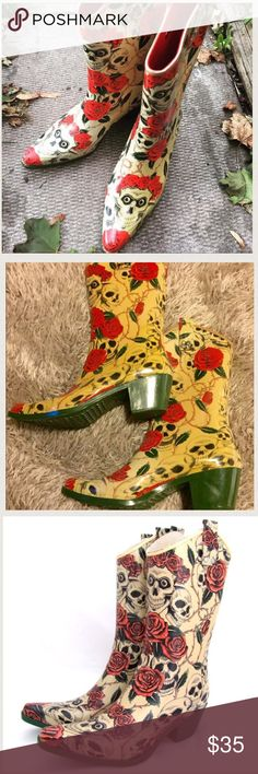 Skull & Roses Rain Boots Brand New, never worn! Perfect if you want to go jump in puddles or crowd surf. Nomad Shoes Winter & Rain Boots
