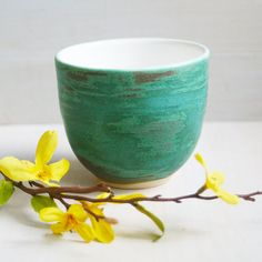 Yunomi Tea Cup - Rustic Turquoise and White Stoneware Cup - Handmade Teacup - Turquoise Pottery