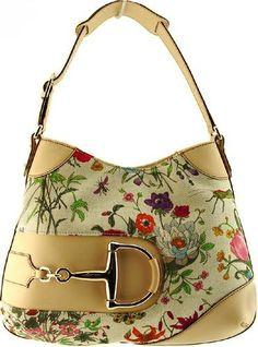 Gucci White & Beige Floral purse