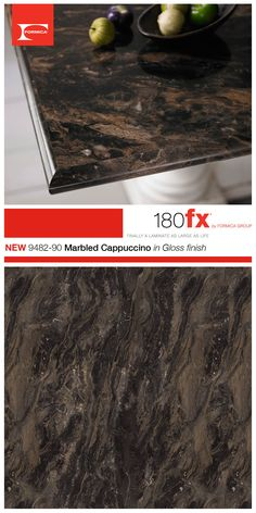 180fx® by Formica Group introduces 9482-90 Marbled Cappuccino in Gloss finish. Marbled Cappuccino is a beautiful color with shades of brown, cream, white and black. The unique swirling pattern is sure to create a point of attraction for any room.