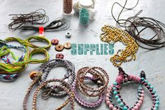 Supplies required to make a few different  wrap bracelets