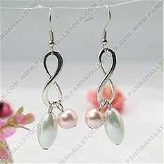 Fashion Glass Pearl Earrings,  Pink