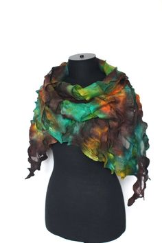 Nuno Felted Scarf Earthy Color Merino Wool Silk by FeltedPleasure