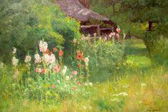 T C. Steele Paintings | Steele, Hollyhocks, House of the Singing Wind