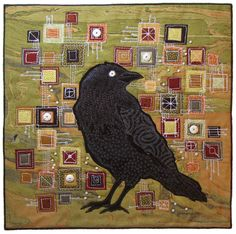 mosiac with crow by Terry Grant on AND SEW IT GOES