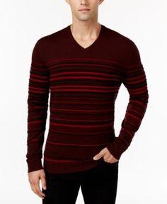 Alfani Men's Striped V-Neck Sweater, Only at Macy's  - Red XXL