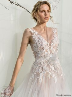 mira zwillinger bridal 2017 sleeveless illusion straps vneck aline wedding dress…