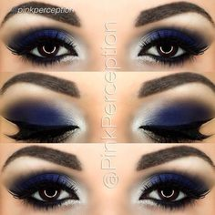 Blue Cat Eyes by @pinkperception in Motives Eye Shadow(Midnight), and Black Gel Eyeliner! #LBD #Blue #CatEyes