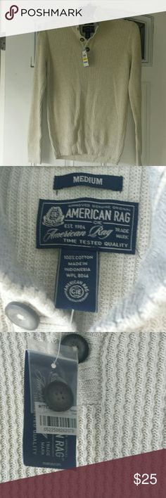 NWT American Rag Men's Sweater Buy it for your guy for Christmas!  Oat Heather color.  100% cotton mock turtle neck.  Buttons up with three buttons. Extra button included. NWT - no flaws. American Rag Sweaters