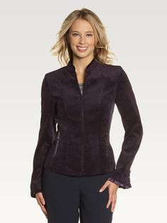 Mandarin Collar Zip Front Jacket Laura