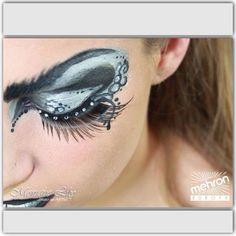 Monique Lily's eye design Mehron paradise makeup AQ white, black brilliant Argente - paradise detailz black & white - Mehron eye lashes #eyedesign #mehron #mehroneurope #paradise