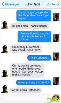 Hoodie: DareDevil Tries to Get Luke Cage Aboard The Defenders [Comic] Funny Marvel Memes, Dc Memes, Marvel Jokes, Marvel Dc Comics, Funny Comics, Marvel Avengers, Text Memes, Superhero Texts, Superhero Villains