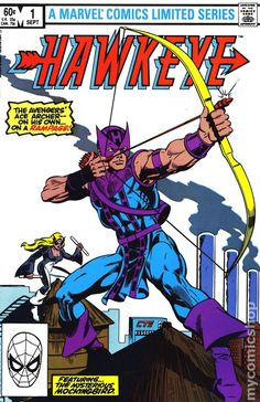 """Hawkeye #1(1983 1st Series,  #1) """"Avenger and ace archer Hawkeye gets his own limited series as well as a new rocket-sled. In this first issue, Hawkeye tells his girlfriend, Sheila Danning, his origin story, and then battles Mockingbird. Written and drawn by Mark Gruenwald, with inks by Brett Breeding."""" https://www.mycomicshop.com/search?TID=176001"""