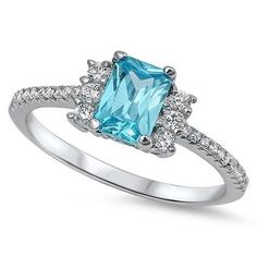 Beautiful Cut Blue Topaz & Cz .925 Sterling Silver Ring