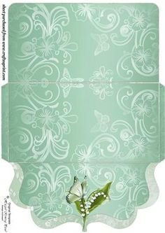 Green lily of the valley clutch bag money voucher wallet on Craftsuprint designed by Stephen Poore -