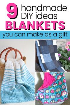 Make a beautfiul handmade blanket as a gift. You'll find crochet, knitted, patchwork and no-sew fleece blanket tutorials here. Don't forget to get their free patterns too. DIy blanket ladder or basket for storage. No Sew Fleece Blanket, Diy Blanket Ladder, Do It Yourself Home, Storage Baskets, Free Pattern, Easy Diy, Sewing, Crochet, How To Make