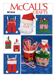 McCall's Sewing Pattern Christmas Stockings, Gift Pouches, Baskets and Hanging Decoration Christmas Sewing Patterns, Modern Sewing Patterns, Mccalls Sewing Patterns, Simplicity Sewing Patterns, Craft Patterns, Christmas Baskets, Christmas Items, Christmas Stockings, Christmas Crafts