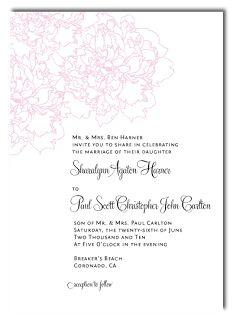 peony wedding invite