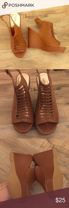 "Madden Girl Brown ""G-Karlin"" peep toe wedges Cute brown faux leather wedges. Madden girl style name is G-Karlin. Worn once indoors and are in excellent condition. Platform on toe for comfortable fit and easy to walk in. Heel height is 5"", platform is 1"" Madden Girl Shoes Wedges"
