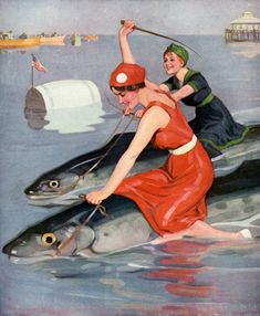 Both Winners from the September 26, 1914 cover of Puck magazine. Two beautiful young women ride large fish to victory in a race. Illustrated by Brynolf Wennerberg.