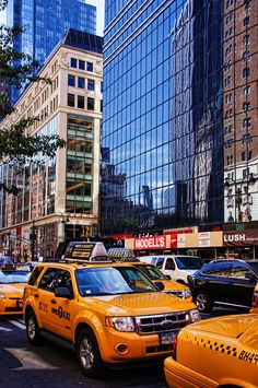Gele taxi's in de stad