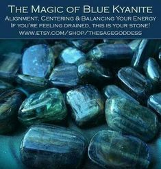 Blue kyanite brings cellular alignment and draws you inward toward your core, strengthening your will and vision so that you move in concert with the highest good for you and your kind. It's the stone of finding your sacred center. Crystal Guide, Crystal Magic, Crystal Healing Stones, Stones And Crystals, Gem Stones, Blue Crystals, Blue Stones, Minerals And Gemstones, Crystals Minerals