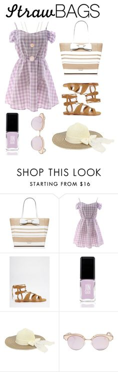 """""""The Last Straw"""" by calisfire ❤ liked on Polyvore featuring Kate Spade, Vero Moda, JINsoon, Le Specs, Michael Kors and strawbags"""