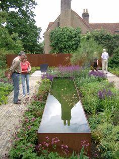 The Barn, , Hertfordshire, – National Garden Scheme Back Gardens, Small Gardens, Landscape Design, Garden Design, Water Features In The Garden, Garden Architecture, Garden Fountains, Contemporary Garden, Water Garden