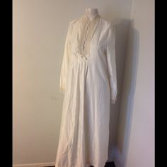 "Vintage Christian Dior Lined Granny Nightgown S Very pretty CD nightgown. Shiny cream colored satin and backed - seems lined. Marked size Small. Made of nylon/poly/cotton. Nice condition. Dior logo on chest. Chest 35"" Length 49"" Christian Dior Intimates & Sleepwear"