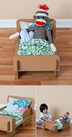 DIY cardboard box doll bed (when I was little I just used shoe boxes and sometimes for my barbies actual shoes. This is much cuter) Cardboard Dollhouse, Cardboard Toys, Cardboard Furniture, Cardboard Playhouse, Barbie Furniture, Baby Girl Toys, Toys For Girls, Baby Dolls, Diy With Kids